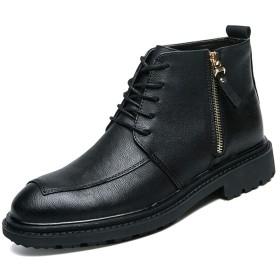 [SJXIN-Mens Boots] レザーブーツメンズ、メンズオックスフォードブーツアンクルドレスブーツレースアップジップブーツアンクルブーツシューズマイクロファイバーレザーラウンドトウ (Color : ブラック, サイズ : 24 CM)