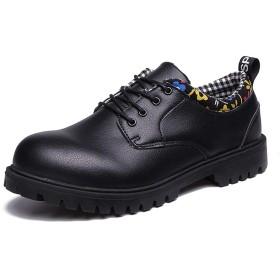 [SJXIN-Mens Boots] 冬のメンズブーツ、メンズオックスフォードカジュアル快適な低トップアンクルブーツマイクロファイバーレザーフォーマル作業靴ビッグラウンドトウアンチスリップラグソール (Color : ブラック, サイズ : 24.5 CM)