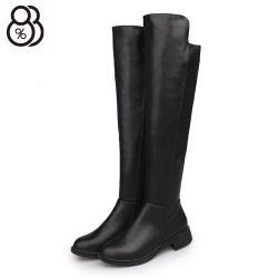 【88%】靴子-跟高3.5cm 皮質鞋面 前長後短 側拉鍊 高筒過膝靴 膝上靴 長靴