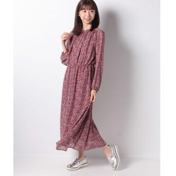 【テチチ】Techichi TERRASSE 単色小花柄スタンド衿ワンピース LS