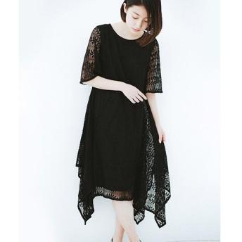 【ハコ】結婚式にも便利!スカートのドレープがきれいなレースワンピース