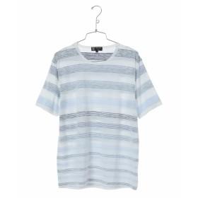 MK MICHEL KLEIN homme ボーダープリントカットソー Tシャツ・カットソー,ネイビー