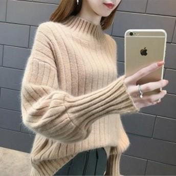 ニットセーター レディース ニット 8色 長袖 大人 ゆったり 着やすい セーター パフスリーブ 人気 秋冬 diz11712739