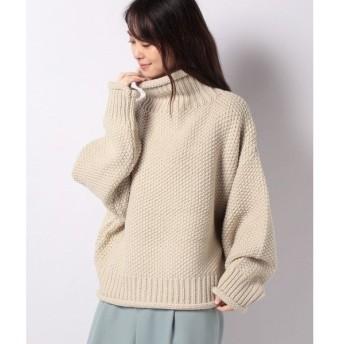 【サマンサ モスモス】タック編みタートルネックプルオーバー