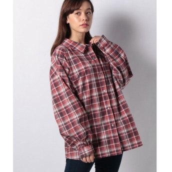 【グリーンパークス】チェックボリュームスリーブビックシャツ