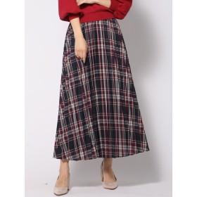 カラーチェックロングプリーツスカート