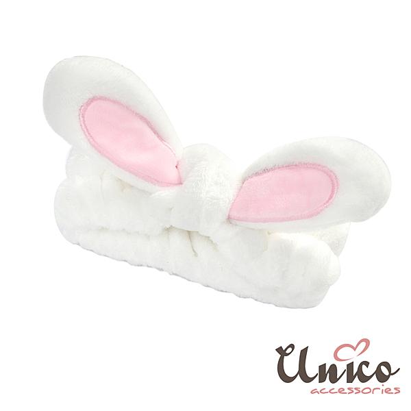 UNICO 大人小孩通用 舒適柔軟兔耳朵洗臉髮帶-白色