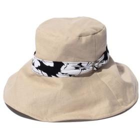 【ブージュルード】柄ベルトUVハット 帽子