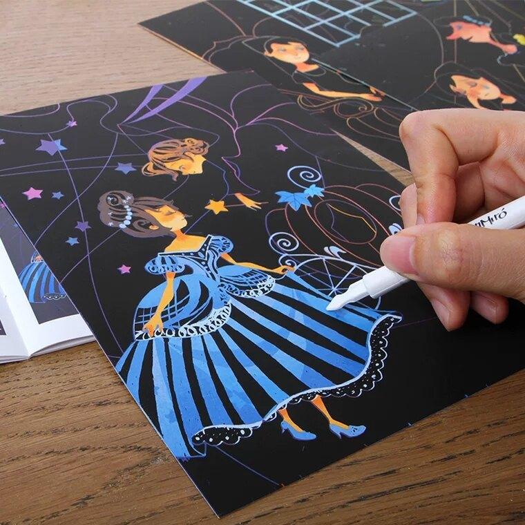 現貨美樂夢幻刮畫紙-刮畫紙上童話故事