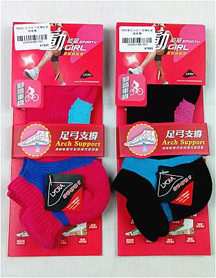 ★衣心衣足★女用腳踏車襪  運動機能短襪隱形襪 一雙 【07863】