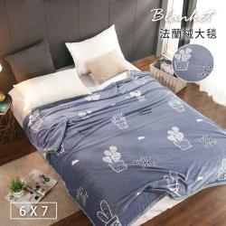 BELLE VIE 特大尺寸 專櫃厚邊保暖金貂法蘭絨毯 (180x210cm) 仙人掌-藍