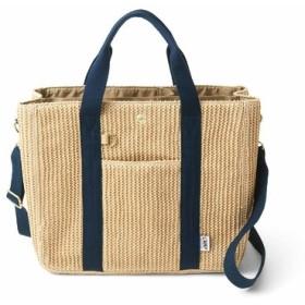 荷物を放り込むだけでスッキリ仕分け T字形の仕切り付きトートバッグ〈かご風〉 フェリシモ FELISSIMO【送料無料】