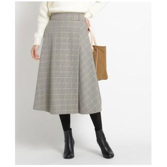 【S~Lサイズあり、洗える】チェック裏起毛ラップ風スカート