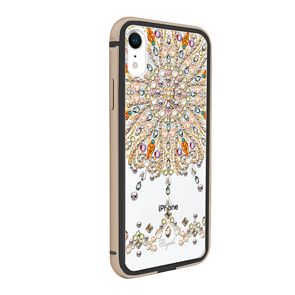 apbs iPhone XR 6.1吋施華彩鑽鋁合金屬框手機殼-黑金色炫