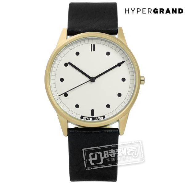 HyperGrand / CW01GWBLK / Classic Black 極簡工業風真皮手錶 米白x金框x黑 38mm