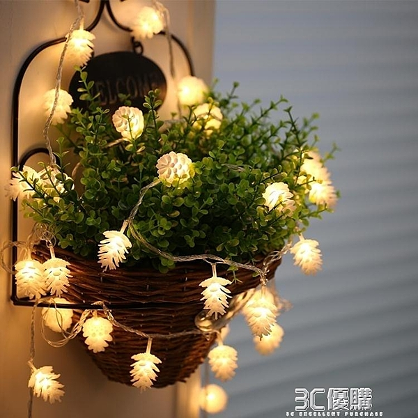 戶外led掛燈串鬆果裝飾掛燈院子陽台聖誕掛燈室外10米彩掛燈閃掛燈串掛燈 3C