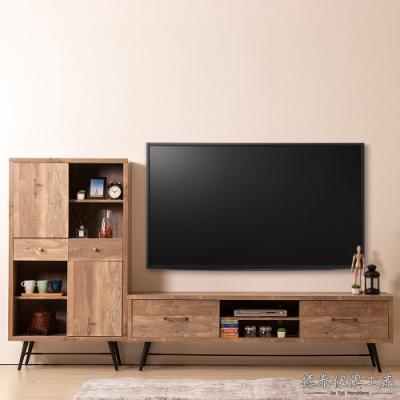D&T 德泰傢俱 Corey 復古工業生活 8.7尺L型電視櫃-262x40x145cm