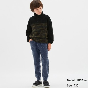 (GU)KIDS(男女兼用)インディゴカットソージョガーパンツ BLUE 130