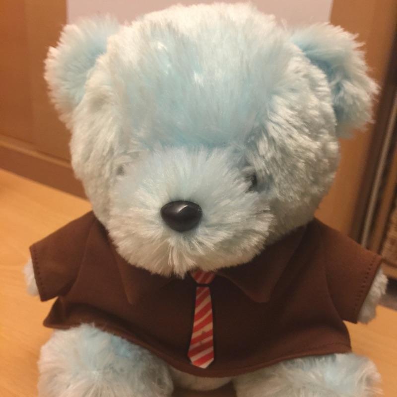 可愛淺藍軟毛小熊