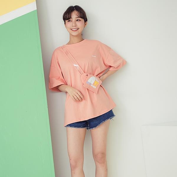 個性全棉寬鬆短袖大學T恤+同色腰包 (皮粉 湖綠藍 白) 12010063