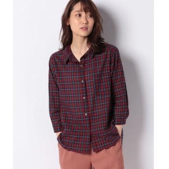 【サマンサ モスモス】綿麻チェック7分袖ワイヤーシャツ