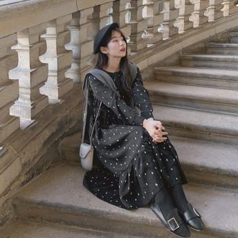 【GOGOSING】ニューヨークドットロングワンピース★レディースワンピース ロングワンピース 長袖 ドット柄 韓国 ファッション p000dcng