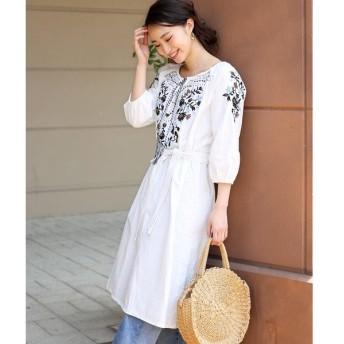 【ブージュルード】刺繍使いが印象的◆刺繍スモッグワンピース