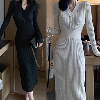 冬新作!ロングワンピース ニットワンピ スリム 大人女子 デート 韓国ファッション