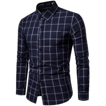 柔らかくて近い スリムメンズ長袖シャツ、メンズカジュアルファッション格子縞のボタンのシャツ、春の摩耗に適した、マシンウォッシャブル wl (Color : C, Size : M)