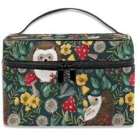 ハリネズミ 花柄 化粧ポーチ 化粧品バッグ 化粧品収納バッグ 収納バッグ 防水ウォッシュバッグ ポータブル 持ち運び便利 大容量 軽量 ユニセックス 旅行する