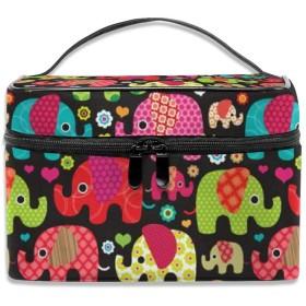 カラフルな象柄 化粧ポーチ 化粧品バッグ 化粧品収納バッグ 収納バッグ 防水ウォッシュバッグ ポータブル 持ち運び便利 大容量 軽量 ユニセックス 旅行する