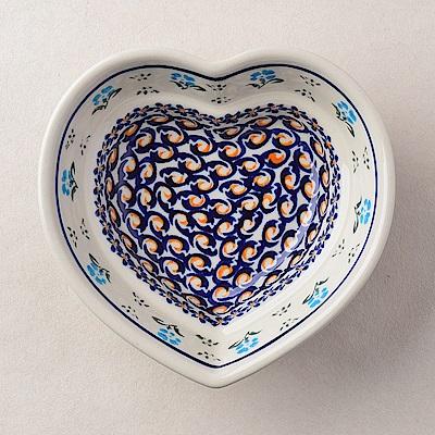 波蘭陶 青藍小花系列 愛心造型烤盤 波蘭手工製