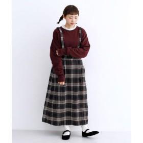 メルロー merlot ファンシーツイードサスペンダースカート (ネイビー)