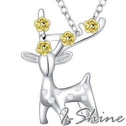 【I.Dear Jewelry】 正白K-一鹿有你-精品麋鹿金色梅花造型項鍊