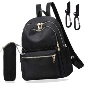 Urbane Style マザーズバッグ リュック レディース マザーズリュック ママバッグ リュックサック ペットボトルホルダー付き (黒, 34×31×15)