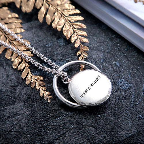 手感鍛紋系列 男款圓形刻字項鍊+垂掛戒指 單面刻字 925純銀客製化項鍊
