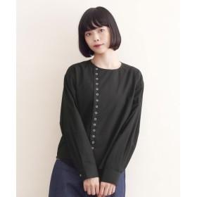 メルロー merlot 【MERLOT IKYU】アシンメトリーリングスナップボタンシャツ (ブラック)