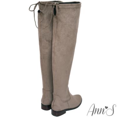 Ann'S 棉花糖版 微性感平底彈力側拉鍊過膝靴  可可