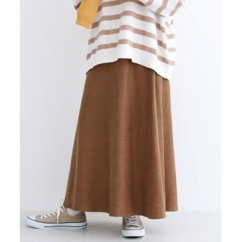メルロー merlot スウェードタッチフレアロングスカート (ブラウン)