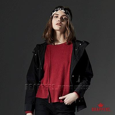 BRAPPERS 女款 連帽風衣外套-黑