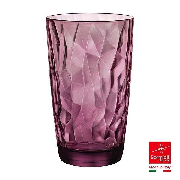 義大利Bormioli Rocco 鑽石飲料杯-470cc(搖滾紫) 茶杯 水杯 辦公杯 情侶杯 咖啡杯 好生活