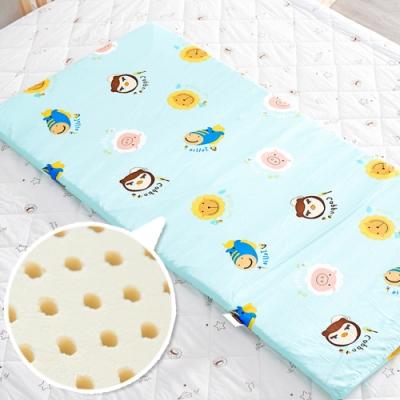 奶油獅 同樂會 精梳純棉布套馬來西亞天然乳膠嬰兒床墊 70x130cm 湖水藍