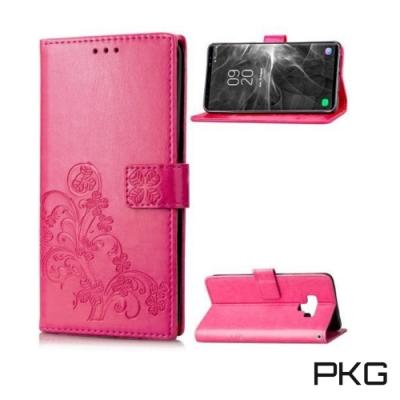 PKG 三星Note9 側翻式皮套-精選皮套系列-幸運草-玫紅