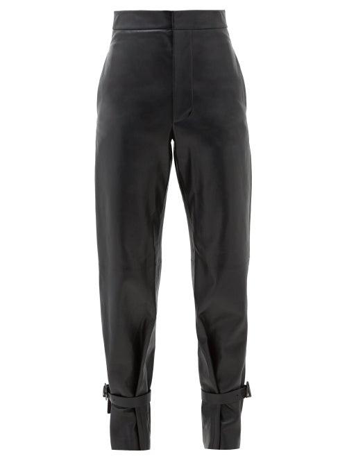 Bottega Veneta - Tied-cuff Leather Wide-leg Trousers - Womens - Black