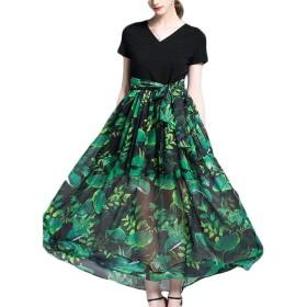 女性の夏のプリントドレススリム気質ドレスファッションワードビッグドレス VFPOPOc (Color : A, Size : XXL)
