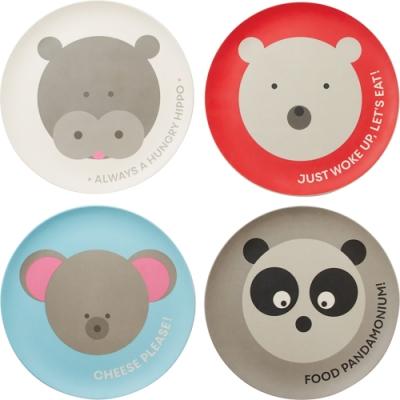 《FOXRUN》竹纖維淺餐盤4件(動物20cm)