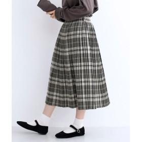 メルロー merlot ベルト付チェック柄プリーツスカート (グレー)