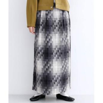 メルロー merlot モザイクチェック柄ロングスカート (グレー)