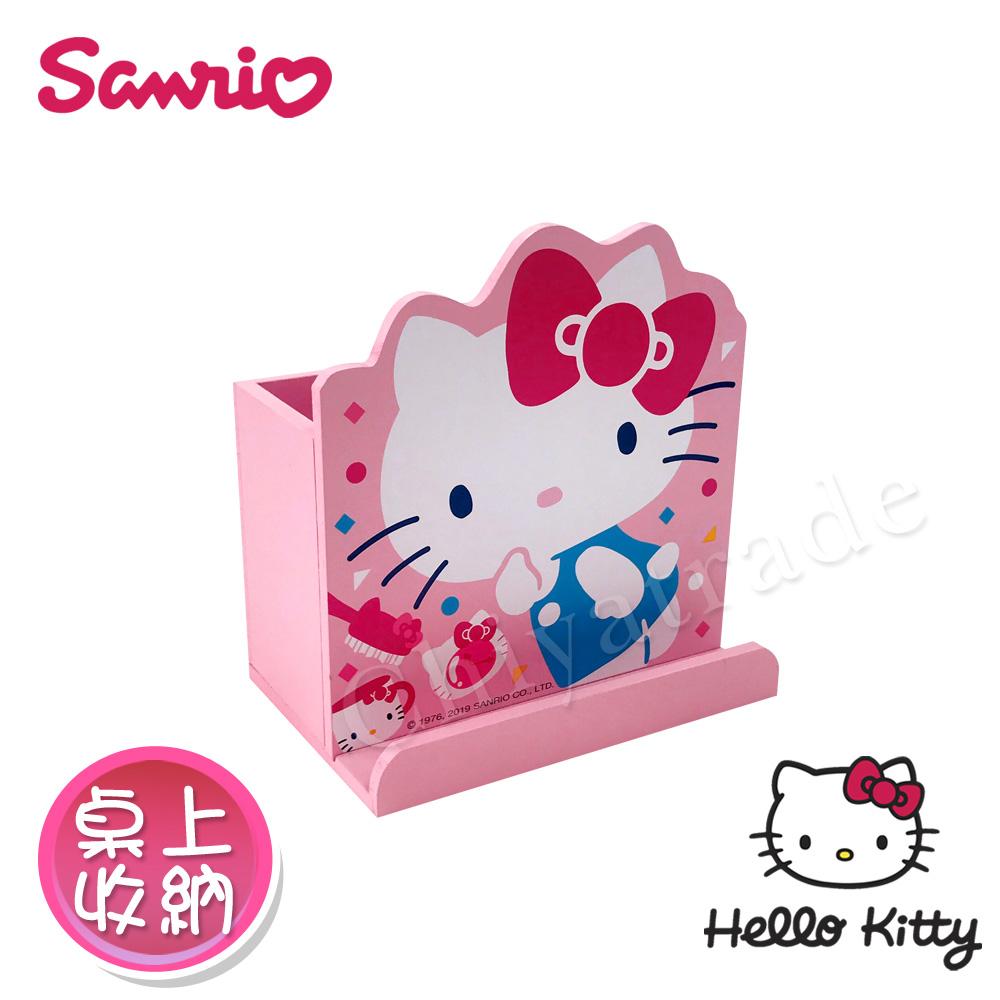 【Hello Kitty】凱蒂貓 造型筆筒 手機架 桌上收納 文具收納(正版授權)