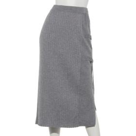 74%OFF PAULINEBLEU (ポリーヌブロー) Dカン付きリブニットタイトスカート グレー